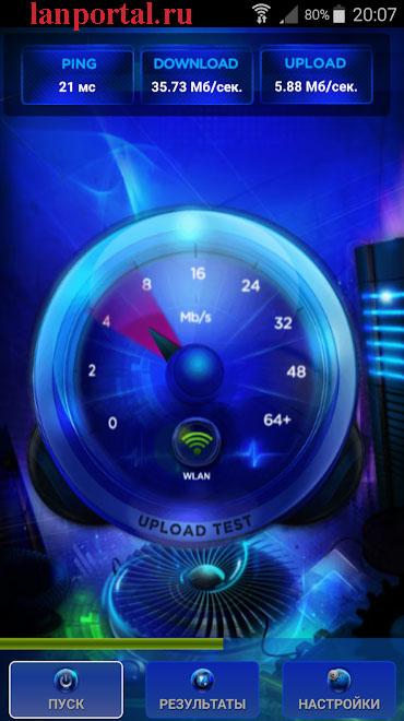 Скриншот, программа тест скорости Интернета