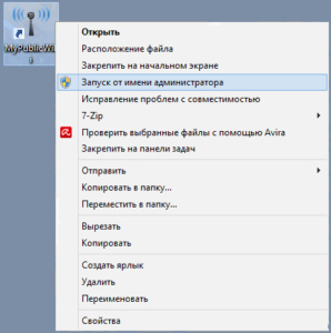 Скриншот, настройка программы MyPublicWiFi