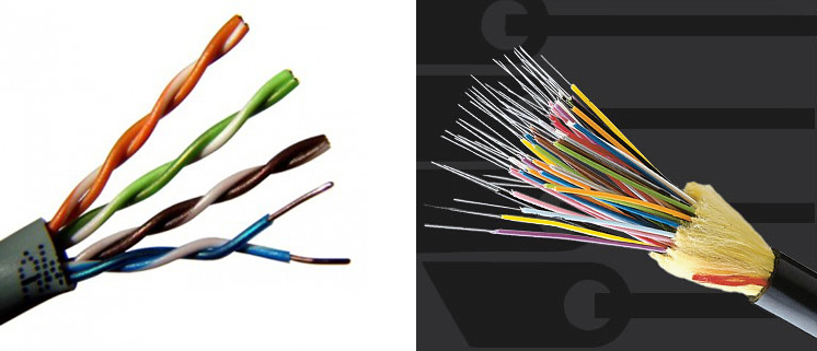 Витая пара и оптоволоконный кабель.