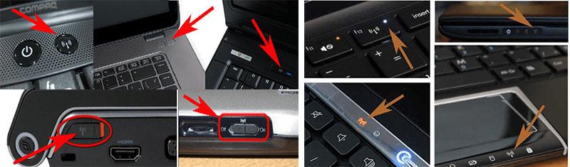 Кнопки включения на ноутбуках