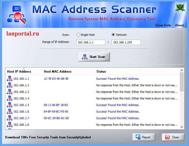 Скриншот, MAC Address Scanner