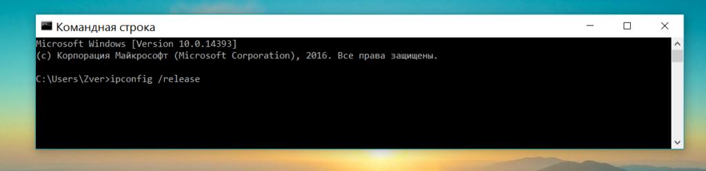 Команда ipconfig /release
