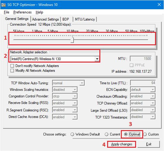 Скриншот, утилита SG TCP Optimizer