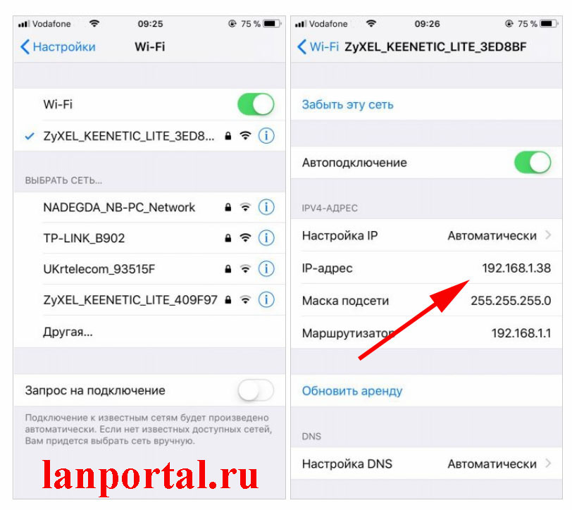 Скриншот, IP address на iOS