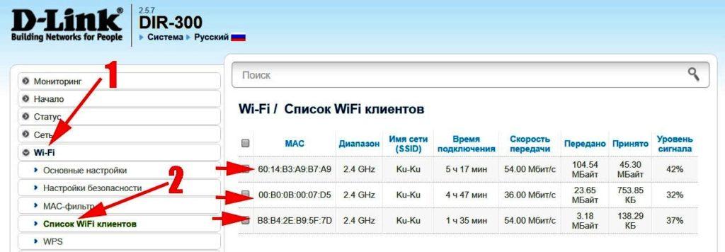 Список всех wifi клиентов на роутере