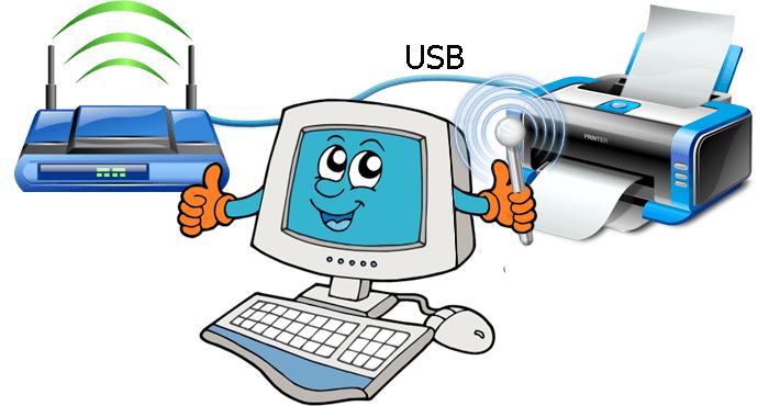 Подключение принтера по USB кабелю к роутеру