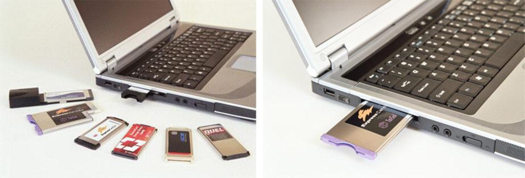 WiFi адаптер PCMCIA вставляем в ноутбук