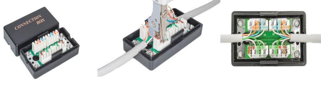 Соединяем интернет кабеля при помощи соединителя