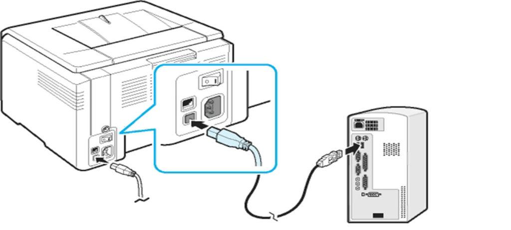 Подключить принтер и компьютер кабелем